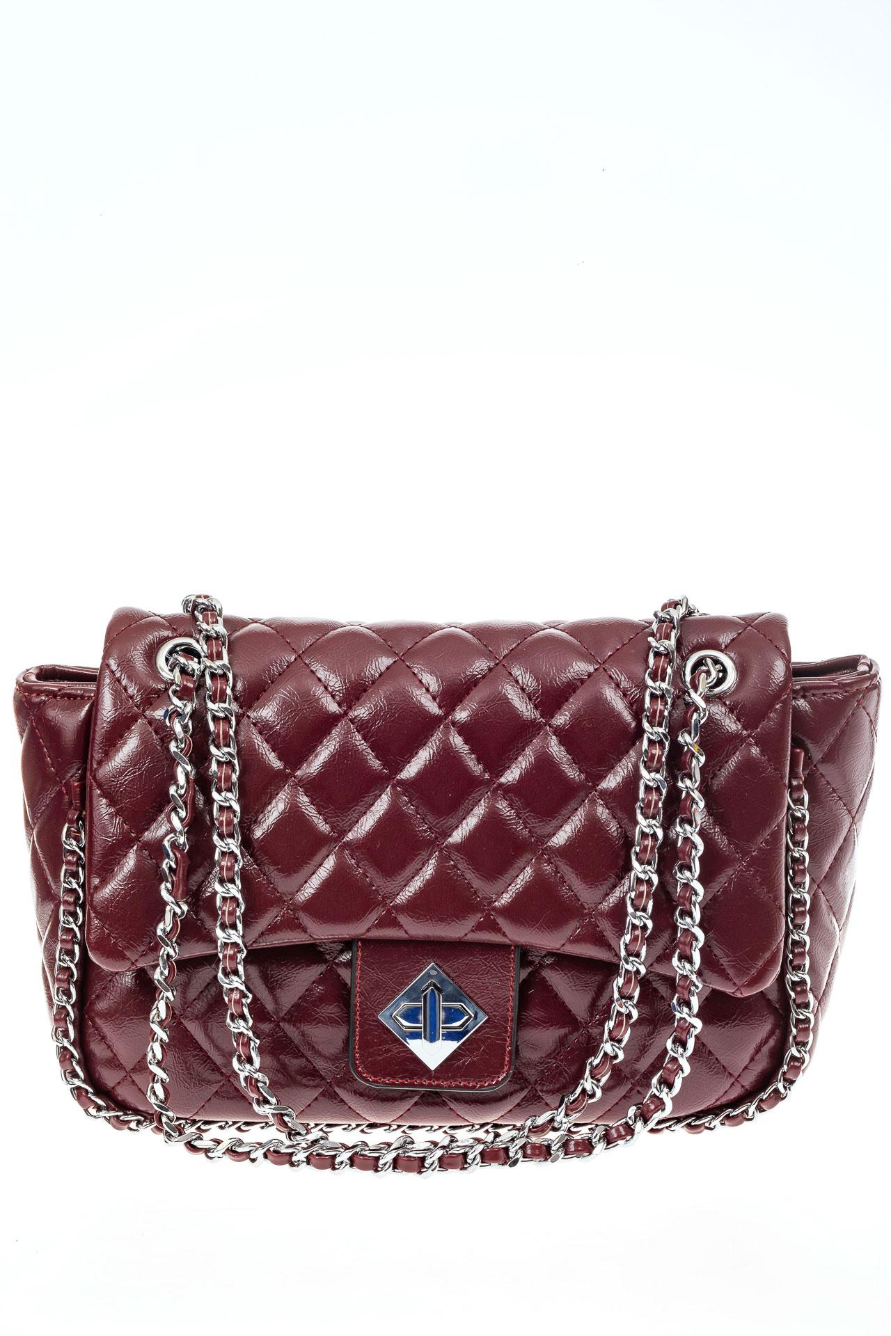 На фото 2 - Стеганая сумка женская из искусственной кожи, цвет бордо