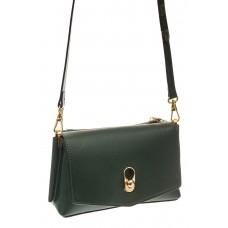На фото 1 - Зеленая сумка-багет из натуральной кожи
