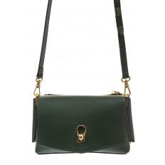 На фото 2 - Зеленая сумка-багет из натуральной кожи