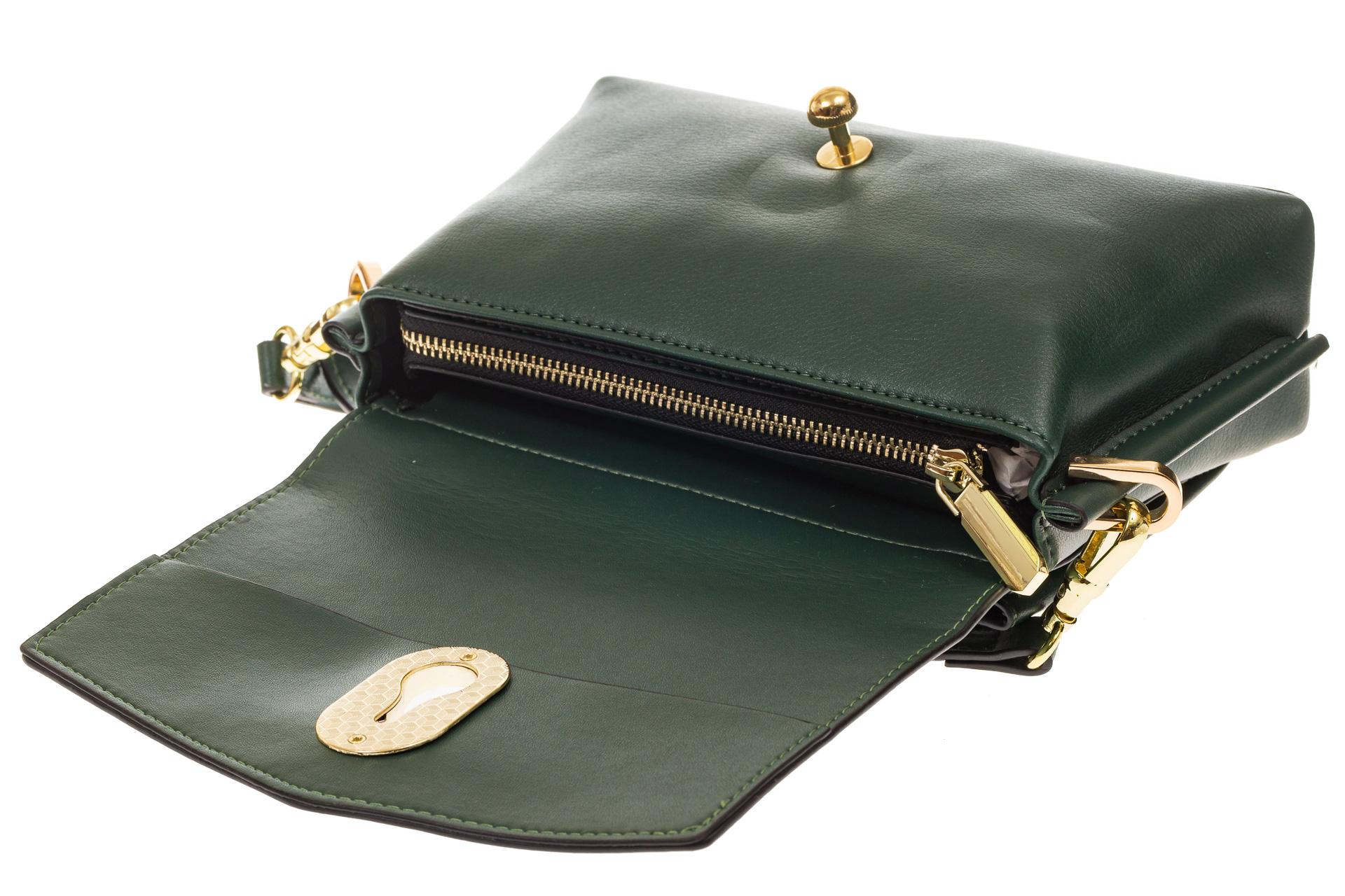 На фото 4 - Зеленая сумка-багет из натуральной кожи