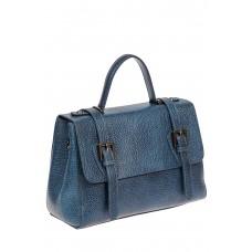 На фото 1 - Женская почтальонка из фактурной натуральной кожи, цвет синий