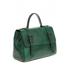 На фото 1 - Женская почтальонка из фактурной натуральной кожи, цвет зелёный