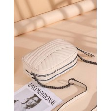 На фото 1 - Женская кросс-боди из фактурной натуральной кожи, белый
