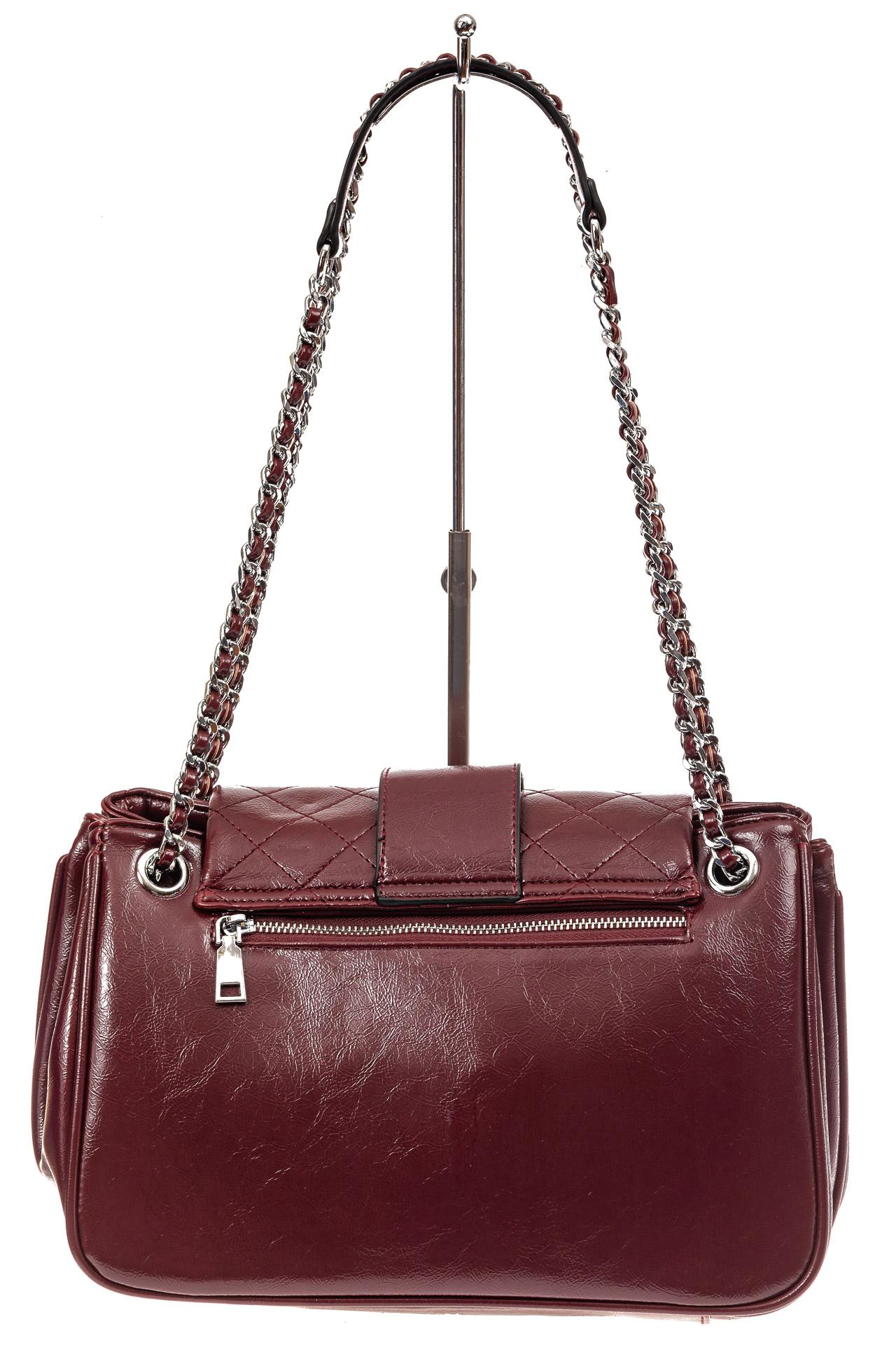На фото 3 - Стеганая сумка женская из искусственной кожи, цвет бордовый