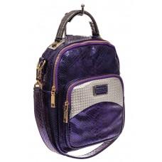 На фото 1 - Женский рюкзак из кожи с тиснением, цвет фиолетовый