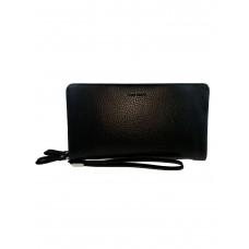 На фото 1 - Кошелёк-клатч из фактурной искусственной кожи, цвет чёрный