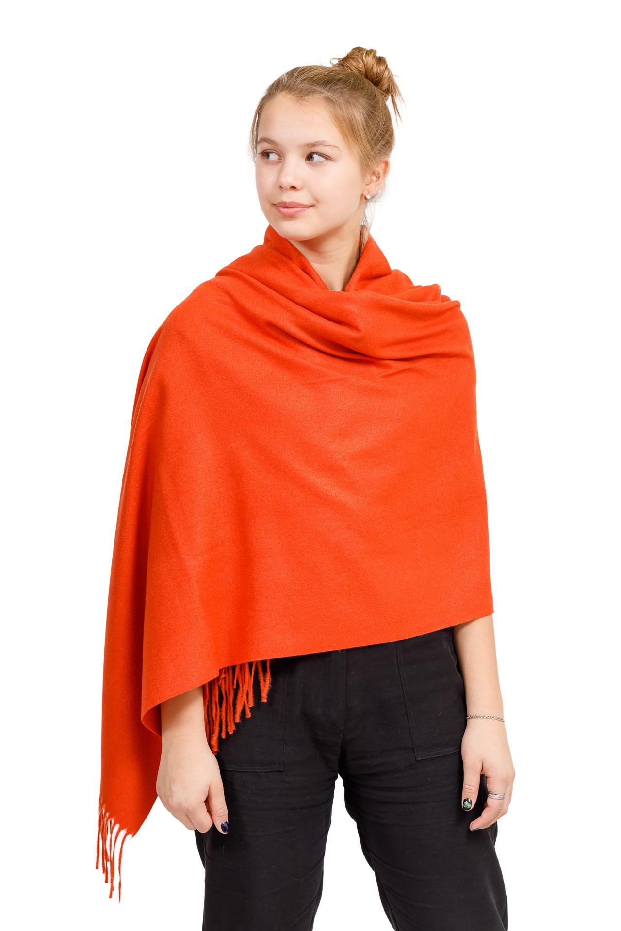 На фото 1 - Шарф-палантин из кашемира, цвет оранжевый