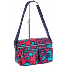 На фото 1 - Женская тканевая сумка кросс-боди с растительным принтом, мультицвет