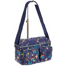 На фото 1 - Женская тканевая сумка кросс-боди с забавным принтом, мультицвет