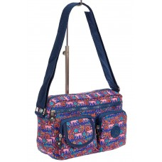 На фото 1 - Женская тканевая сумка кросс-боди с принтом, мультицвет
