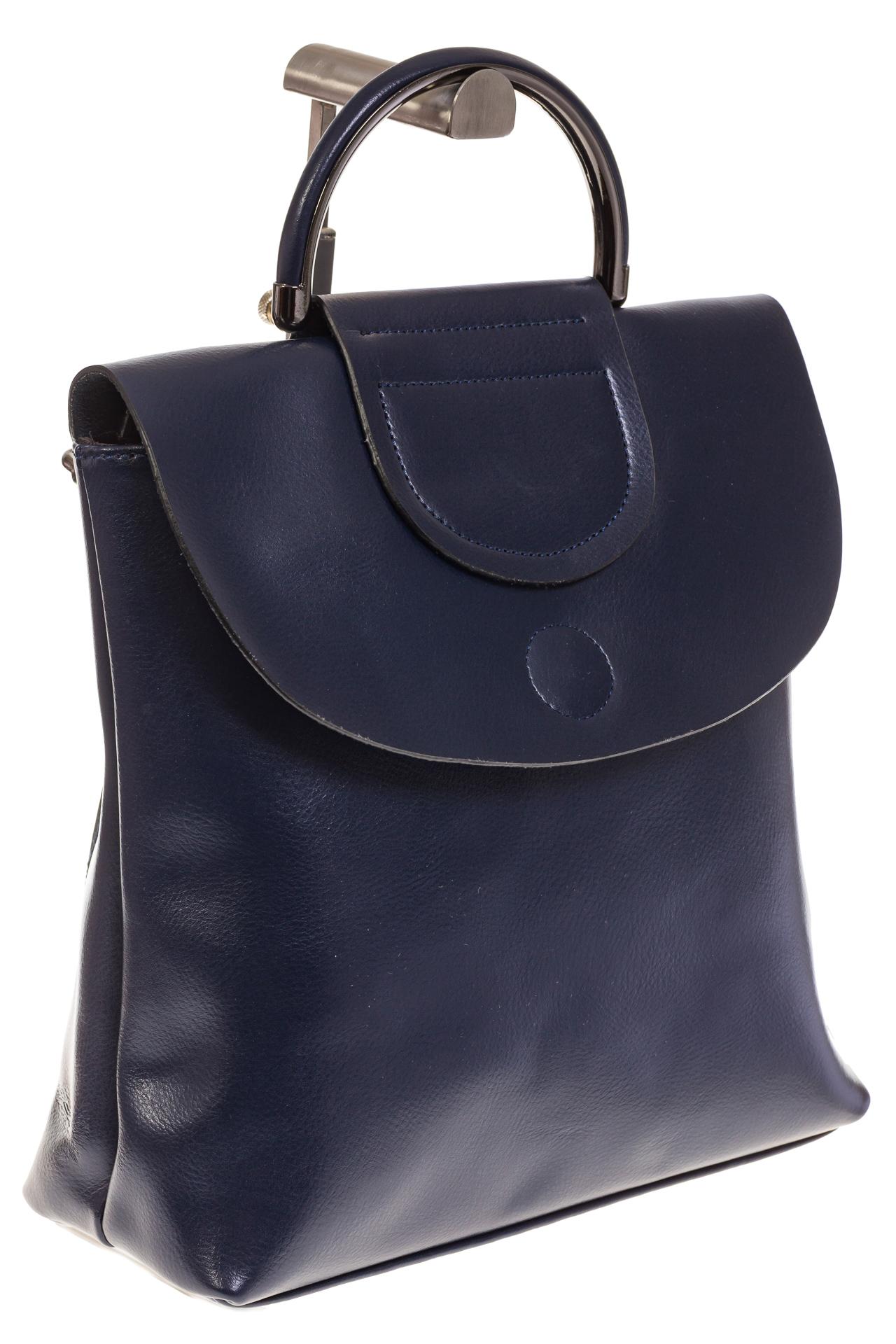 На фото 1 - Синий рюкзак – трансформер из натуральной кожи 8892
