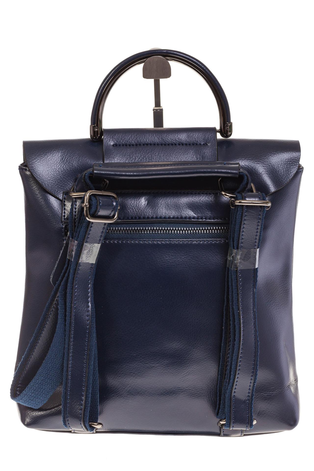 На фото 3 - Синий рюкзак – трансформер из натуральной кожи 8892