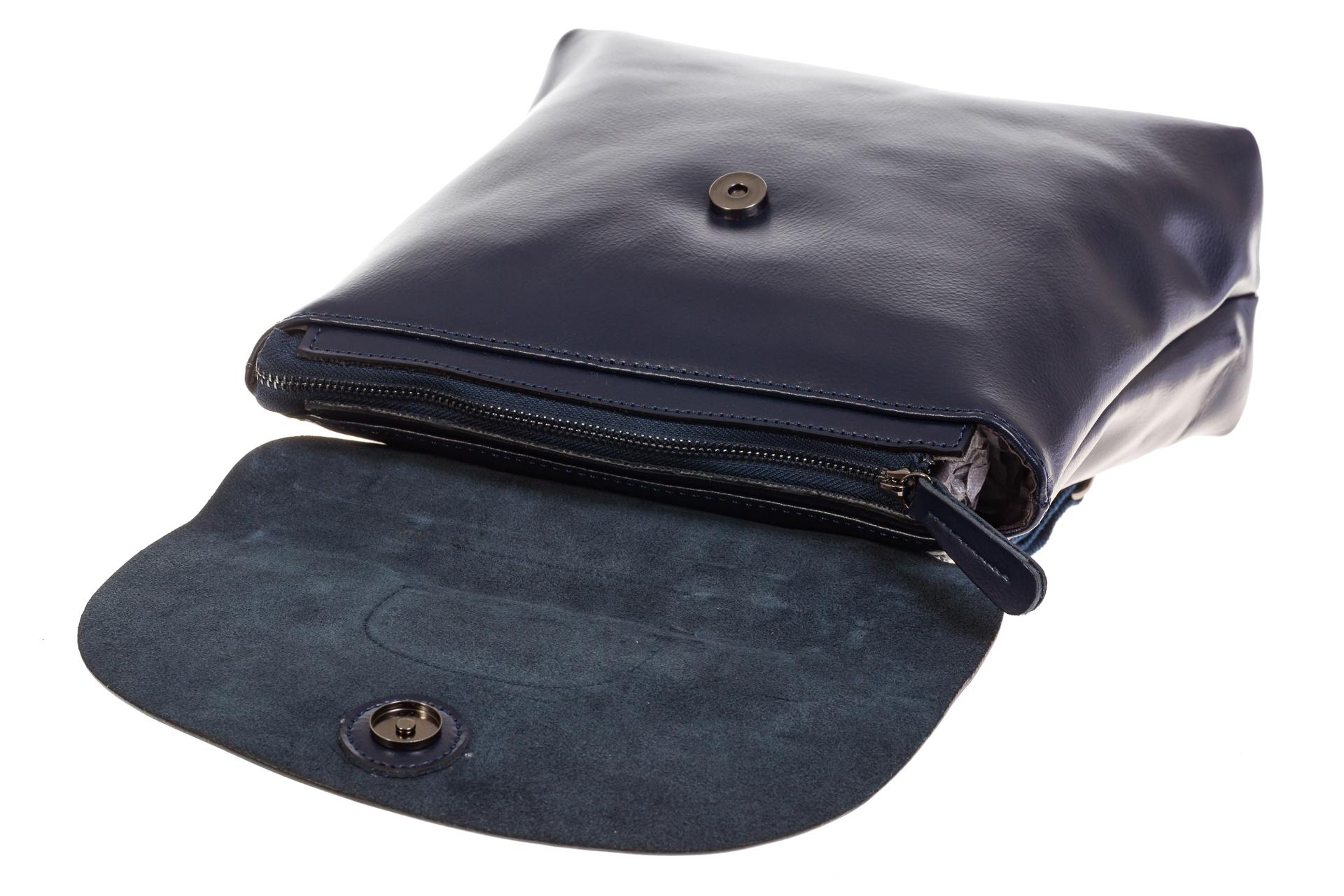 На фото 4 - Синий рюкзак – трансформер из натуральной кожи 8892