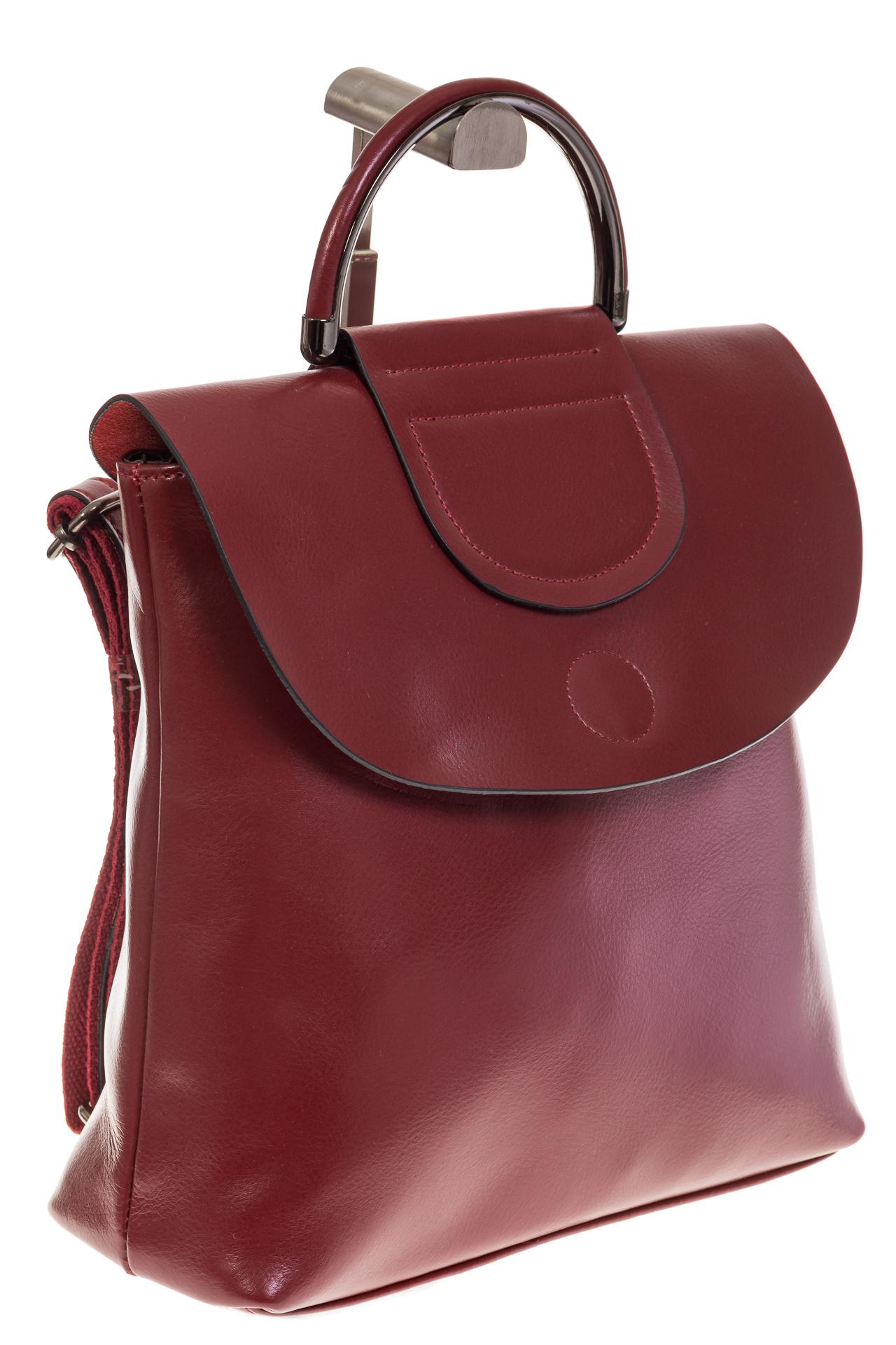 На фото 1 - Бордовый рюкзак – трансформер из натуральной кожи 8892