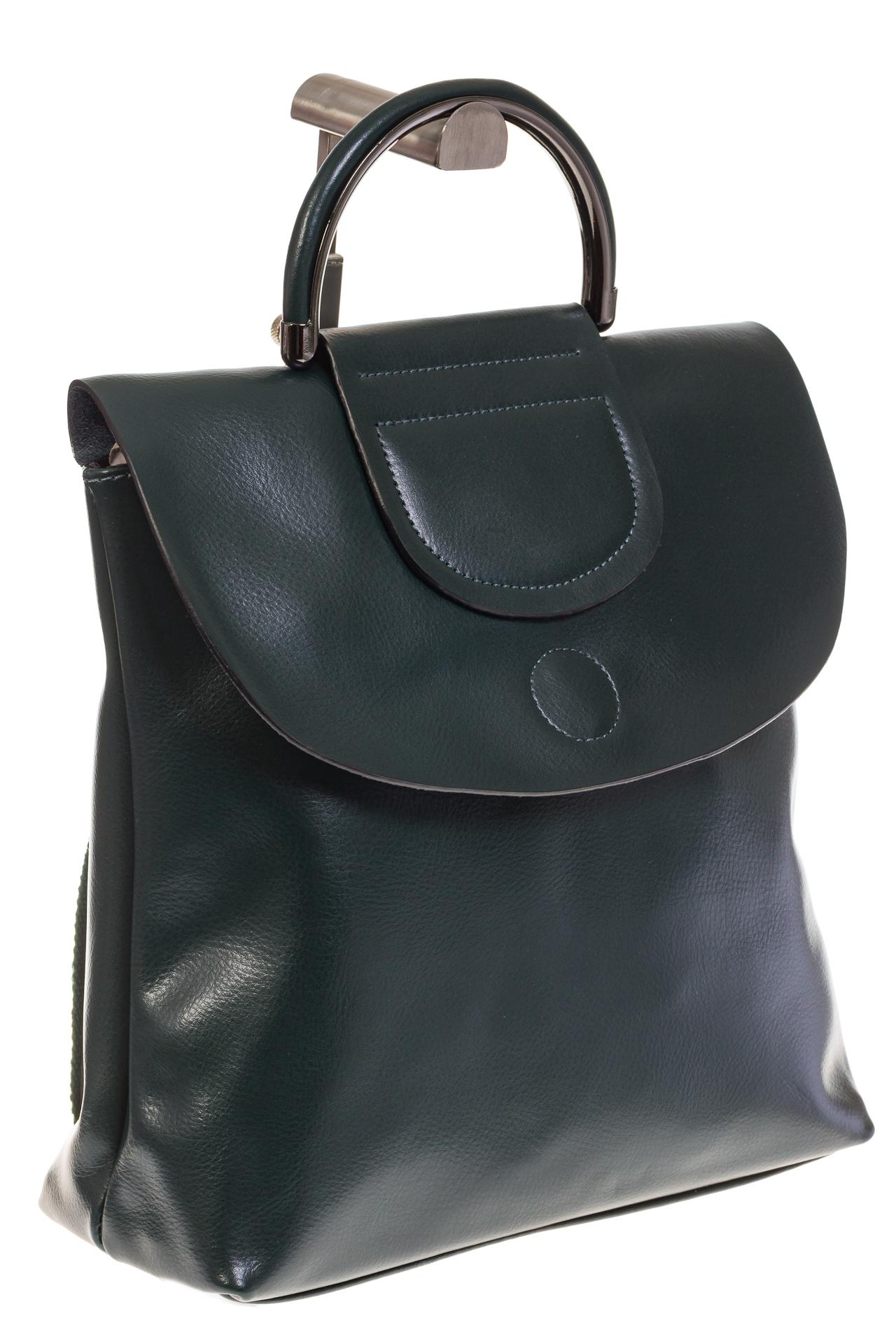 На фото 1 - Темно-зеленый рюкзак – трансформер из натуральной кожи 8892