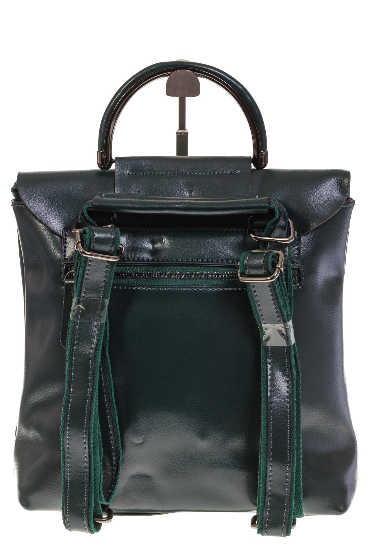 На фото 3 - Темно-зеленый рюкзак – трансформер из натуральной кожи 8892