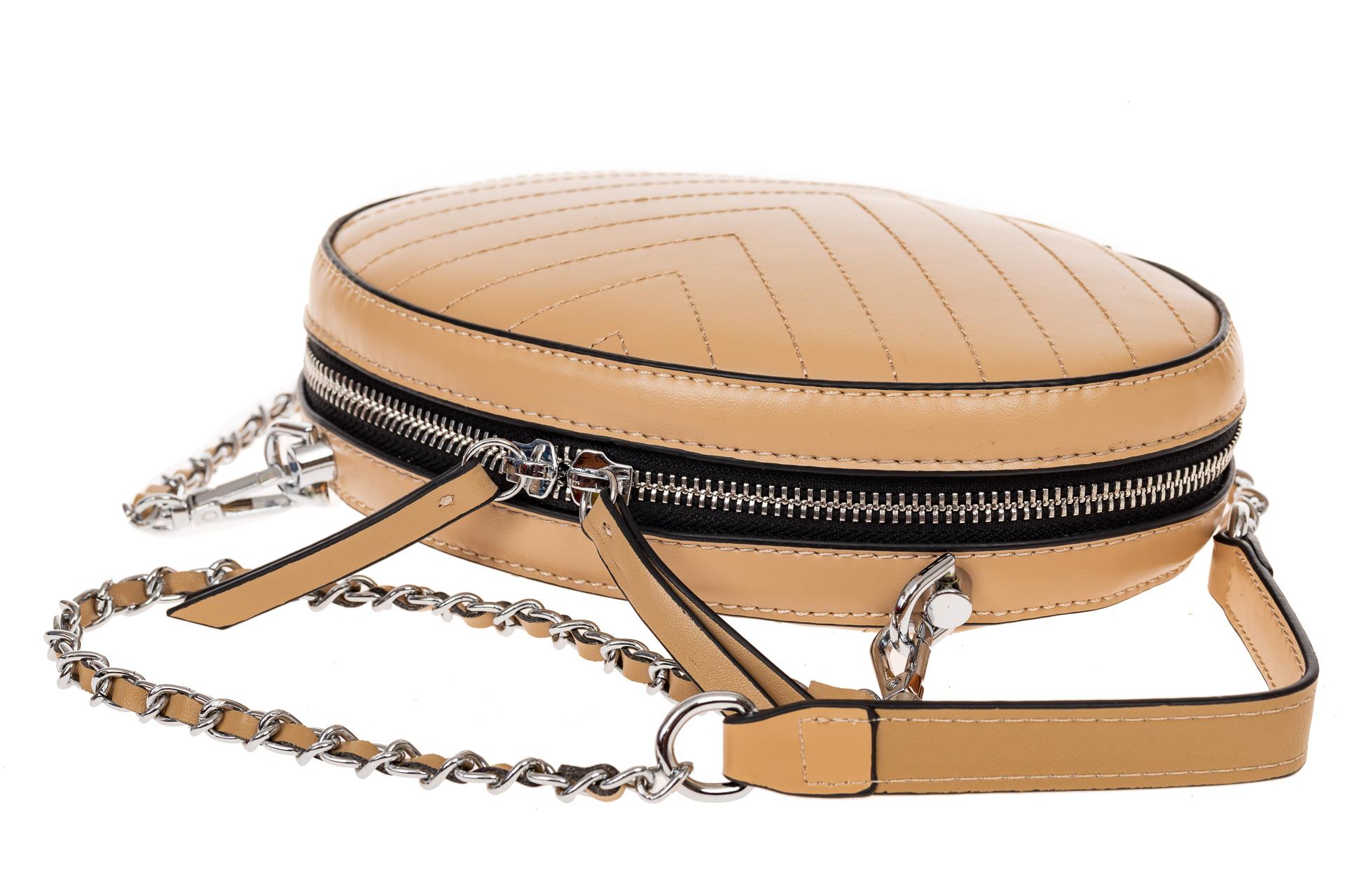 На фото 3 - Плоская овальная сумка из натуральной кожи, цвет бежевый