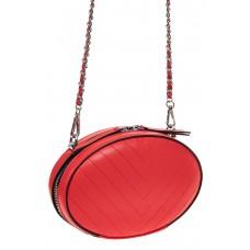 На фото 1 - Плоская овальная сумка из натуральной кожи, цвет красный