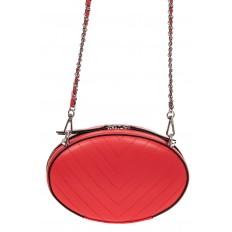 На фото 2 - Плоская овальная сумка из натуральной кожи, цвет красный