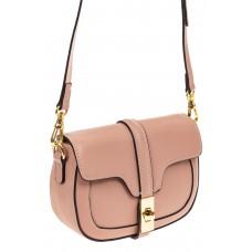На фото 1 - Сумка-малышка saddle bag из натуральной кожи, цвет розовый