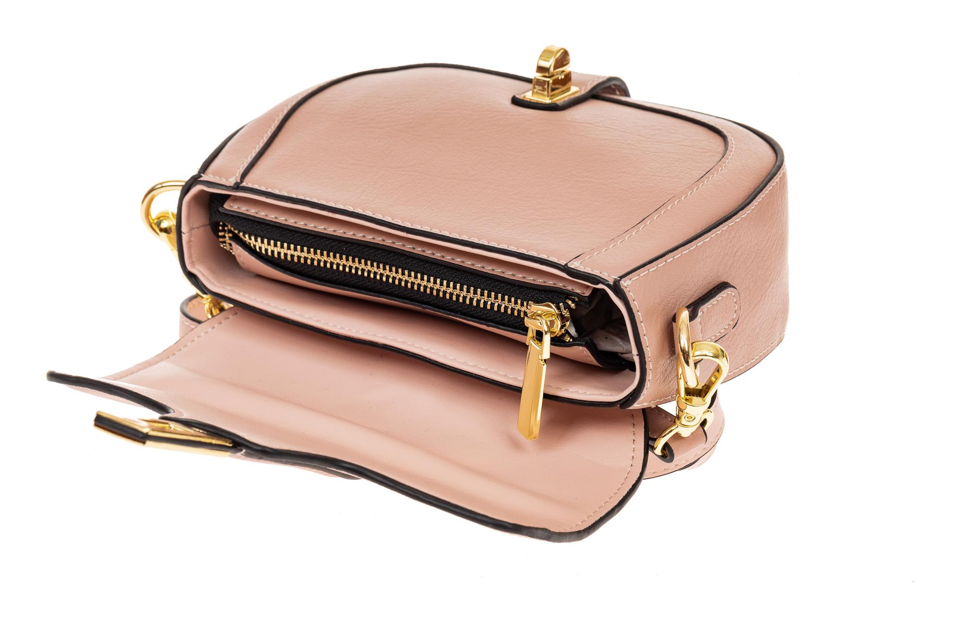 На фото 3 - Сумка-малышка saddle bag из натуральной кожи, цвет розовый