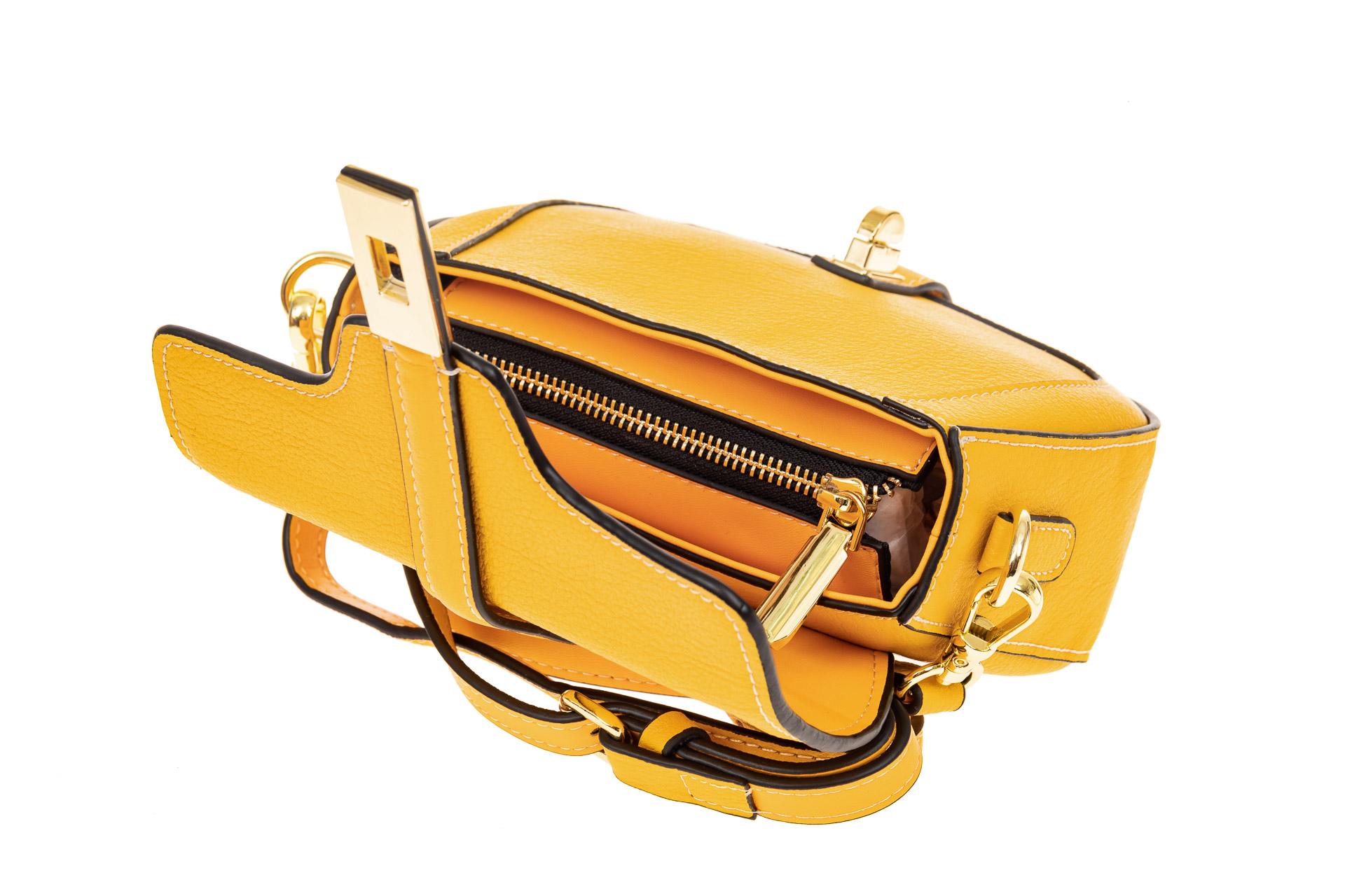 На фото 3 - Сумка-малышка saddle bag из натуральной кожи, цвет манго