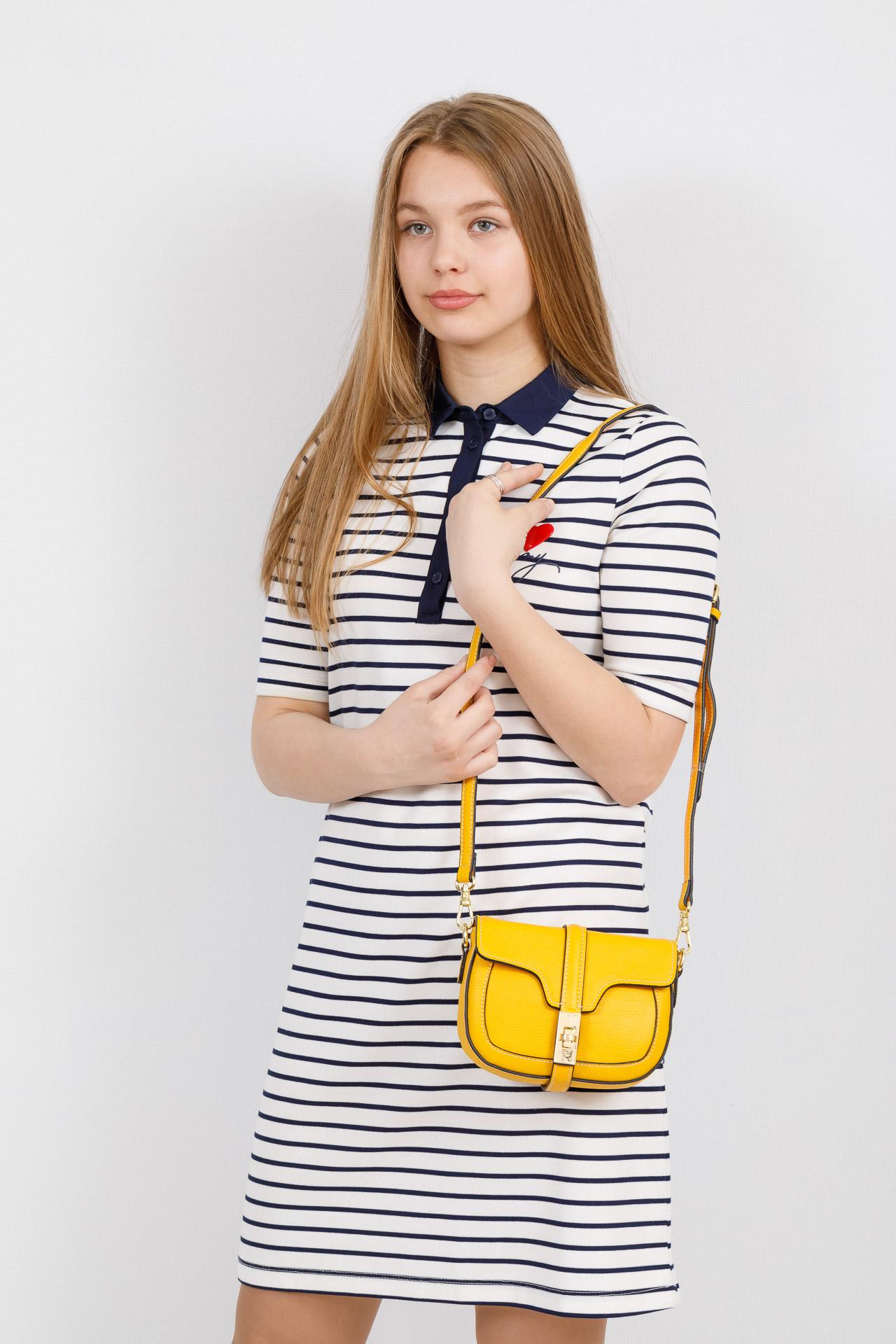 На фото 4 - Сумка-малышка saddle bag из натуральной кожи, цвет манго
