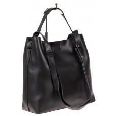 На фото 1 - Женская сумка-мешок, цвет чёрный