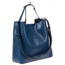 На фото 1 - Женская сумка-мешок, цвет синий