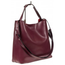 На фото 1 - Женская сумка-мешок, цвет бордовый