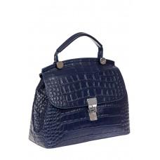 На фото 1 - Женская сумка сэтчел из натуральной кожи, цвет синий