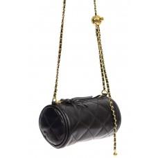 На фото 1 - Длинный круглый клатч, цвет чёрный