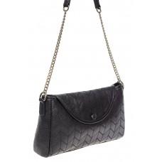 На фото 1 - Женская сумка багет из натуральной кожи с геометрической прострочкой, цвет чёрный