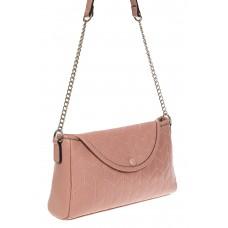 На фото 1 - Женская сумка багет из натуральной кожи с геометрической прострочкой, цвет пыльная роза