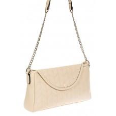 На фото 1 - Женская сумка багет из натуральной кожи с геометрической прострочкой, цвет молочный