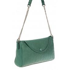 На фото 1 - Женская сумка багет из натуральной кожи с геометрической прострочкой, цвет зелёный
