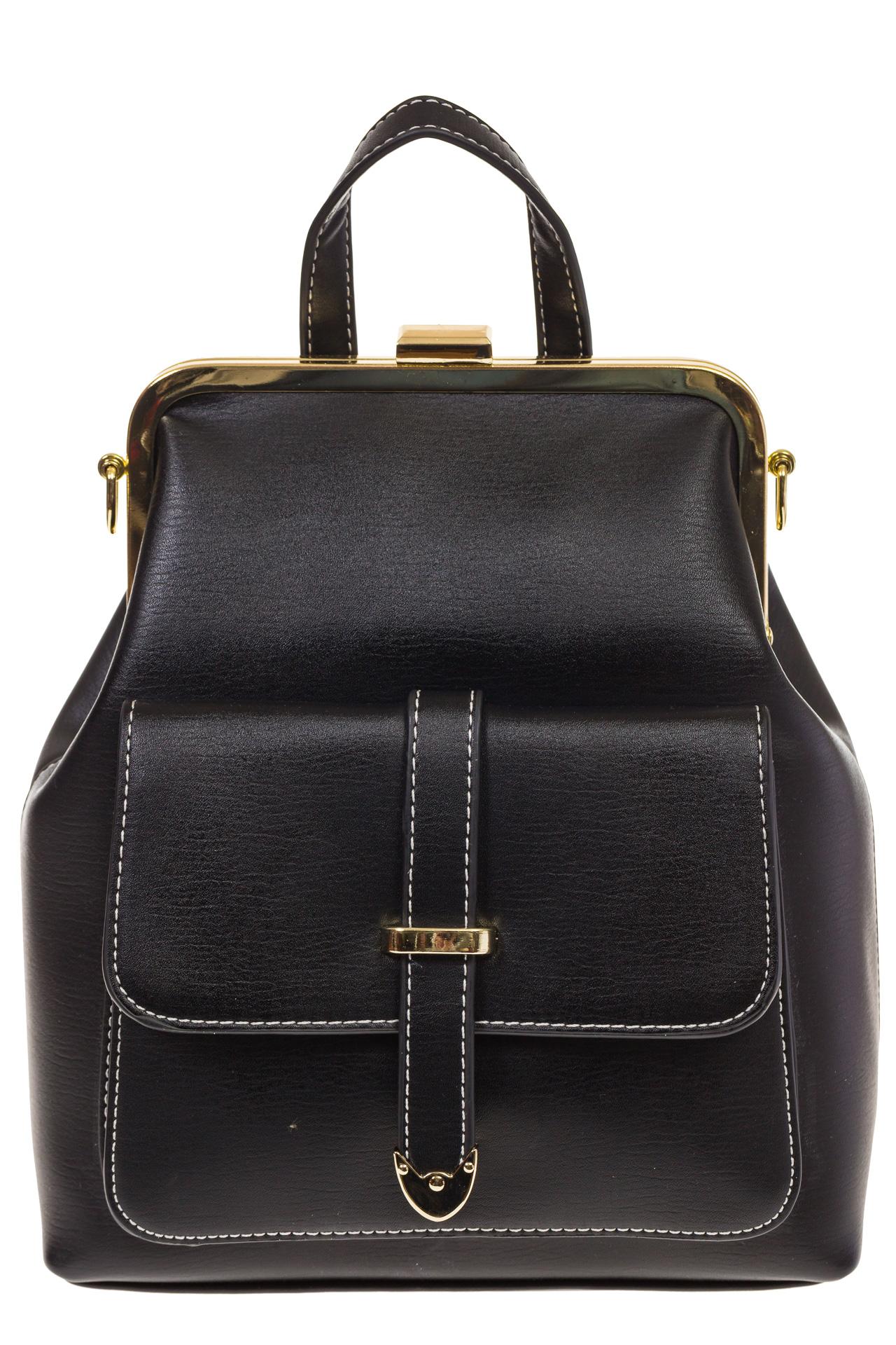 На фото 2 - Черный рюкзачок с рамочным замком 8915