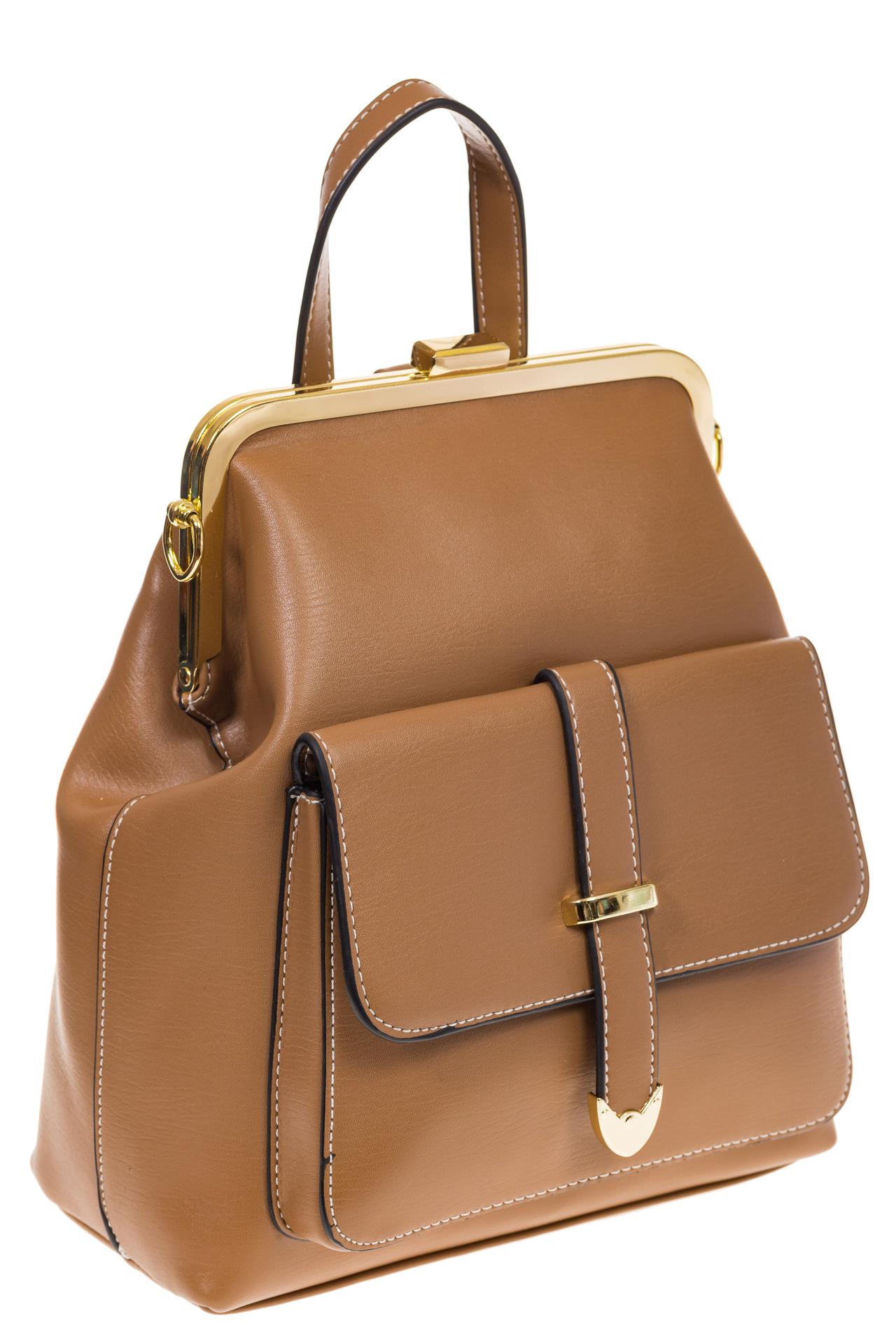 На фото 1 - Бежевый рюкзачок с рамочным замком 8915