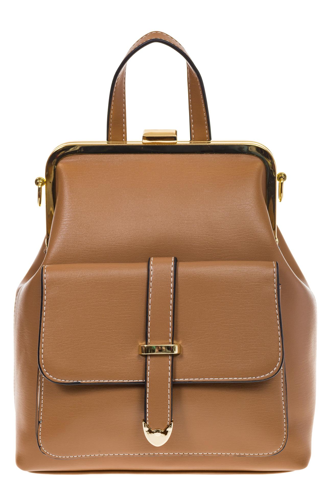 На фото 2 - Бежевый рюкзачок с рамочным замком 8915