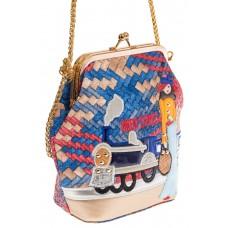 На фото Frame bag для женщин, цвет основы – синий, материал – эко-кожа, купить оптом в магазине Грета