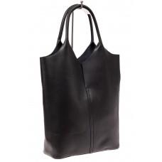 На фото 1 - Сумка женская, мешок из натуральной кожи, цвет черный
