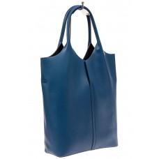 На фото 1 - Сумка женская, мешок из натуральной кожи, цвет синий