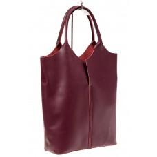 На фото 1 - Сумка женская, мешок из натуральной кожи, цвет бордо