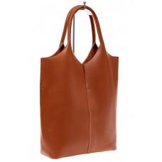 На фото 1 - Сумка женская, мешок из натуральной кожи, цвет рыжий