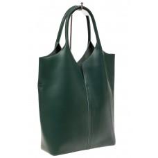 На фото 1 - Сумка женская, мешок из натуральной кожи, цвет зеленый