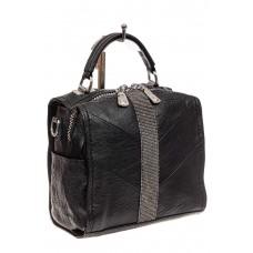 На фото 1 - Сумка-рюкзак из искусственной кожи со стразами, цвет черный