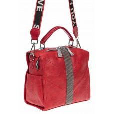На фото 1 - Сумка-рюкзак из искусственной кожи со стразами, цвет красный