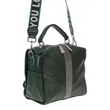 На фото 1 - Сумка-рюкзак из искусственной кожи со стразами, цвет зелёный