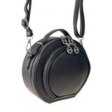 На фото 1 - Круглая женская сумка из экокожи, цвет чёрный