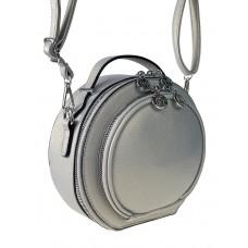 На фото 1 - Круглая женская сумка из экокожи, цвет светло-серый